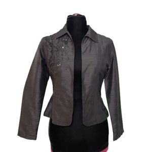 Chico's 100% Silk Black Embroidered Open Jacket S